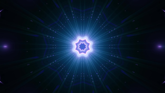 Geometric star shaped ornament glowing with vibrant blue light in darkness Premium Photo