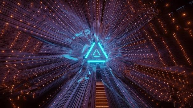 Geometric tunnel with triangle background and distorted bright neon illumination Premium Photo