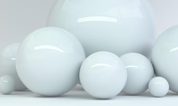 Geometric white shape scene minimal, 3d rendering. Premium Photo
