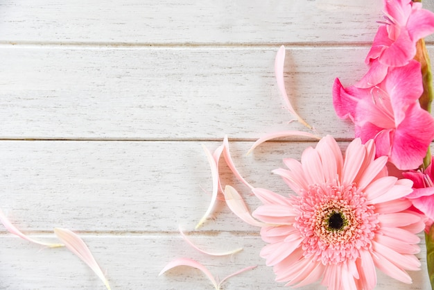 Gerbera pink gladiolus flower spring summer and petal decorate on white wooden background Premium Photo
