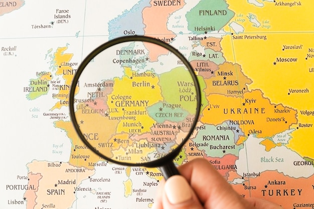 Germany showed on map helped by magnifying glass Free Photo