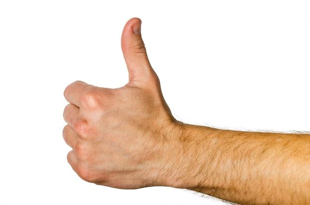 Gesture - thumb up, everything will be fine, ok. Premium Photo