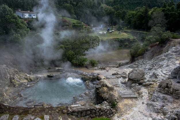 Geysers in furnas valley, sao miguel island, azores, portugal. Premium Photo