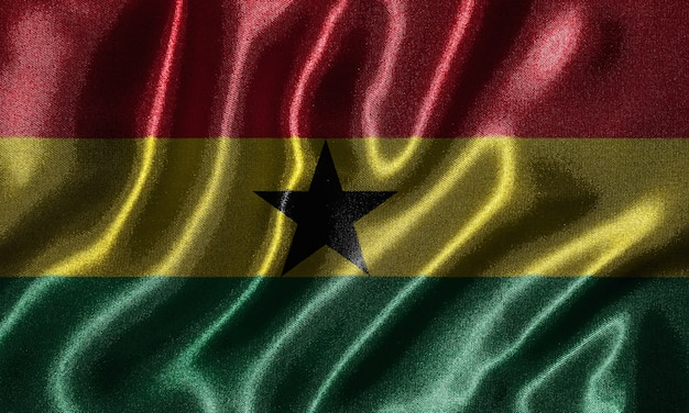 Ghana flag - fabric flag of ghana country, background of waving flag by textile. Premium Photo