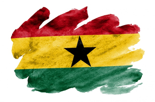 Ghana flag  is depicted in liquid watercolor style isolated on white Premium Photo