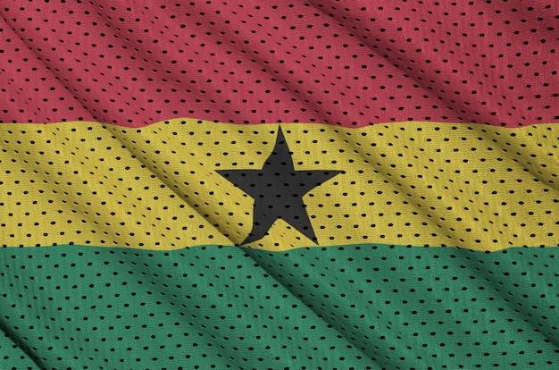 Ghana flag printed on a polyester nylon sportswear mesh fabric Premium Photo