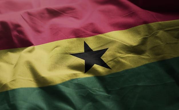 Ghana flag rumpled close up Premium Photo