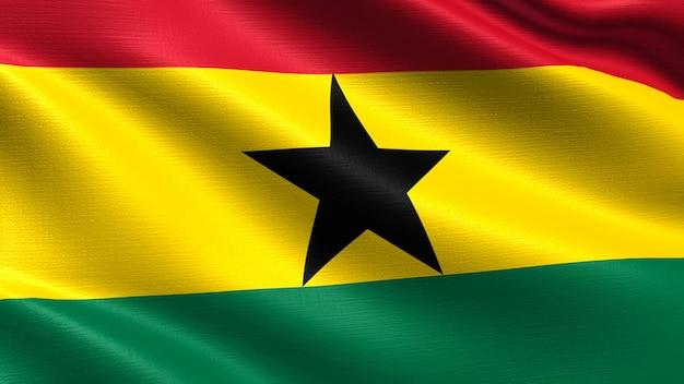Ghana flag, with waving fabric texture Premium Photo