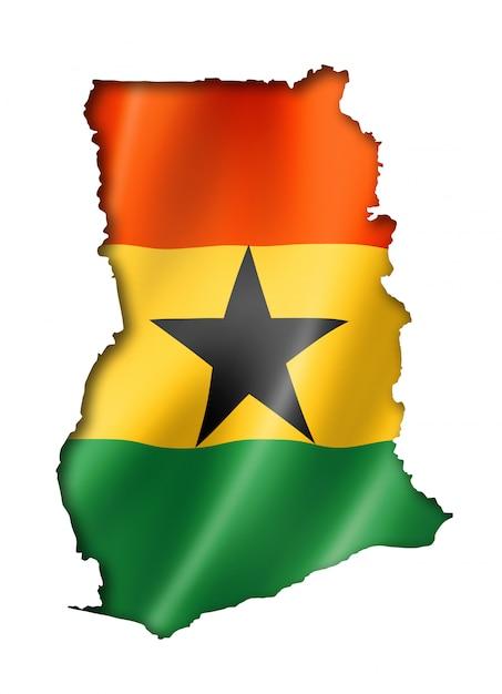 Ghanaian flag map flag map Premium Photo