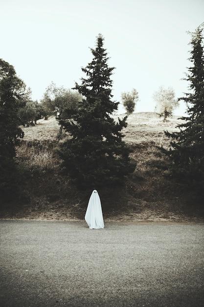 Ghost standing on asphalt road Free Photo