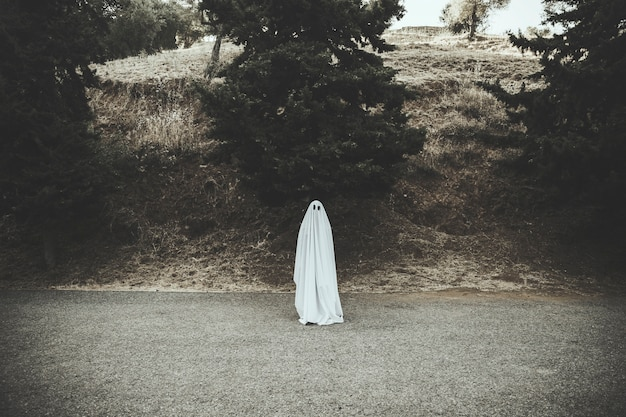 Ghost standing on dark countryside road Free Photo