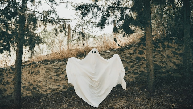 Ghost with unfolding arms standing near wall in park Free Photo