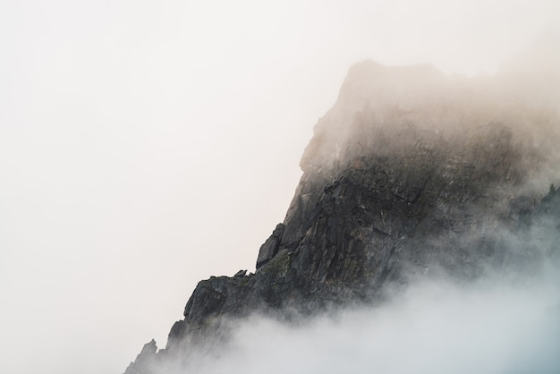 Ghostly atmospheric view to big cliff in cloudy sky. low clouds among giant rocky mountains. mysterious place at early foggy morning. minimalist scenery with beautiful rockies. dramatic bleak fog. Premium Photo