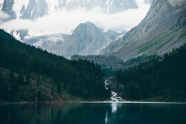Призрачный лес возле горного озера рано утром. горный ручей из ледника впадает в озеро. рябь на гладкой поверхности воды. низкие облака. темный атмосферный туманный лесной пейзаж. спокойная атмосфера. Premium Фотографии