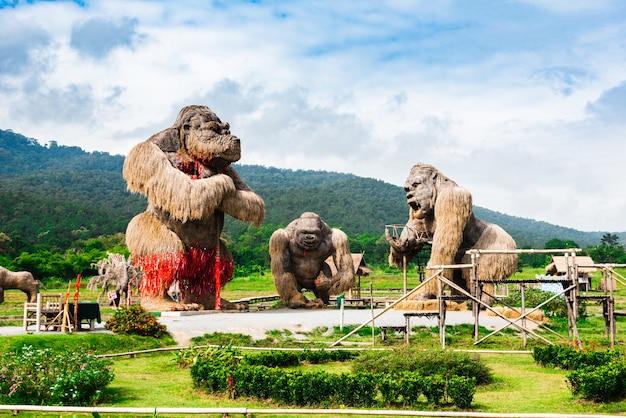 Гигантские гориллы на рисовом поле Premium Фотографии