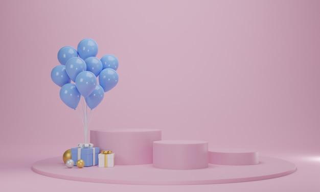 핑크 파스텔 배경에 풍선 및 원형 연단 선물 상자. 추상 축하 플랫폼 장면. 3d 렌더링 프리미엄 사진