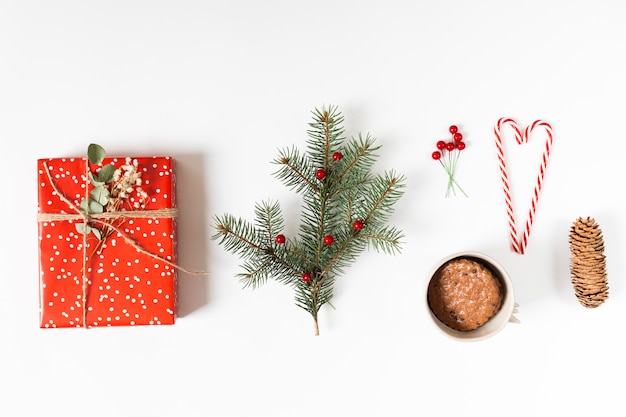 Gift box with fir tree branch and candy canes Free Photo