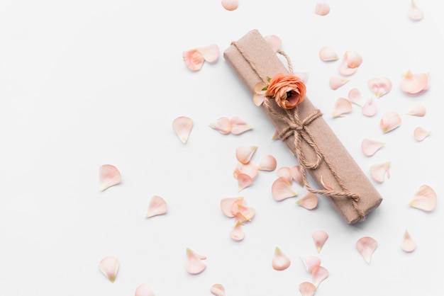 Gift box with flower among petals Free Photo