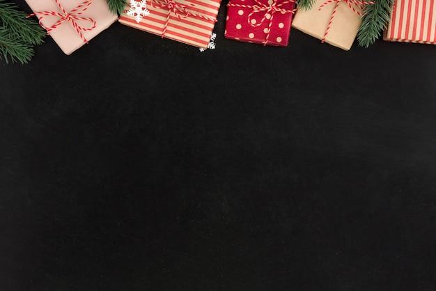 Premium Photo Gift Boxes And Christmas Ornaments Border Design On Blackboard