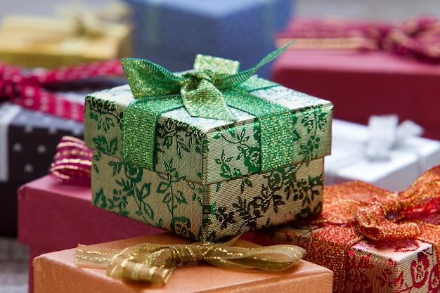 Gift boxes at christmas Premium Photo