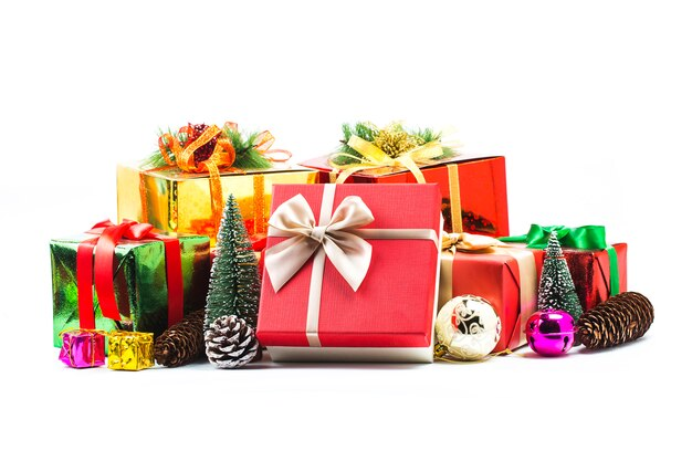 Gift boxes on white background Free Photo
