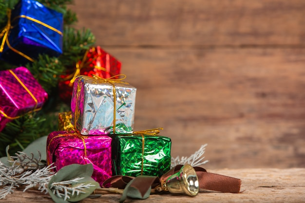 Gift boxes on wooden surface Free Photo
