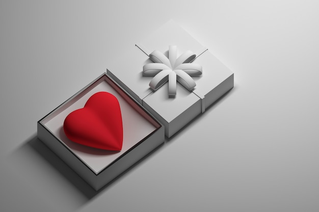 Gift heart in a box Premium Photo