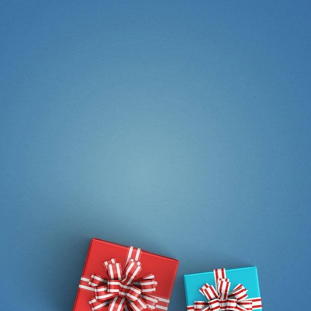 Gift packs on a blue background Free Photo