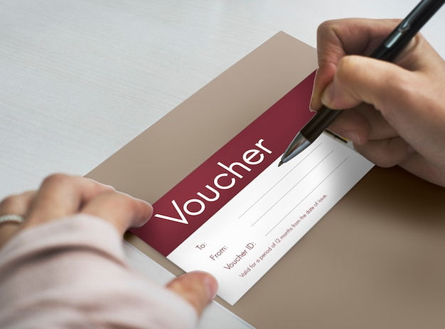 Gift voucher coupon discount special offer Premium Photo