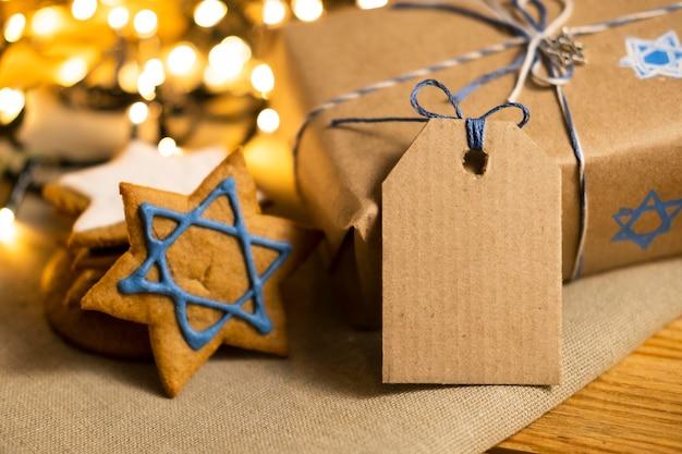 Подарок с этикеткой традиционной еврейской концепции хануки Бесплатные Фотографии