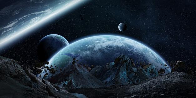 Gigantic asteroids about to crash 3d rendering Premium Photo