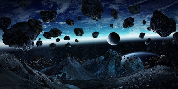 Gigantic asteroids about to crash earth 3d rendering Premium Photo
