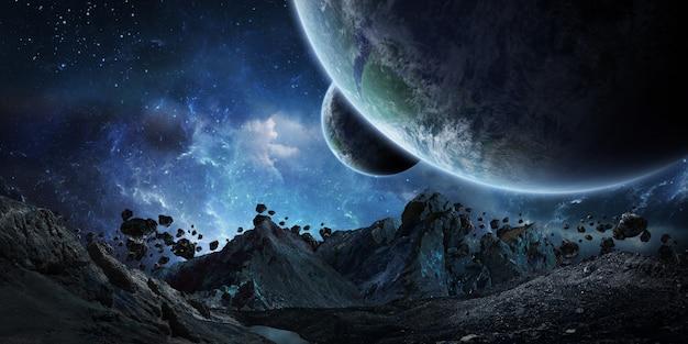 地球の3dレンダリングをクラッシュさせようとしている巨大な小惑星 Premium写真