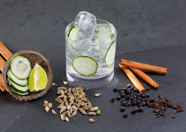 Gin tonic cocktail Premium Photo