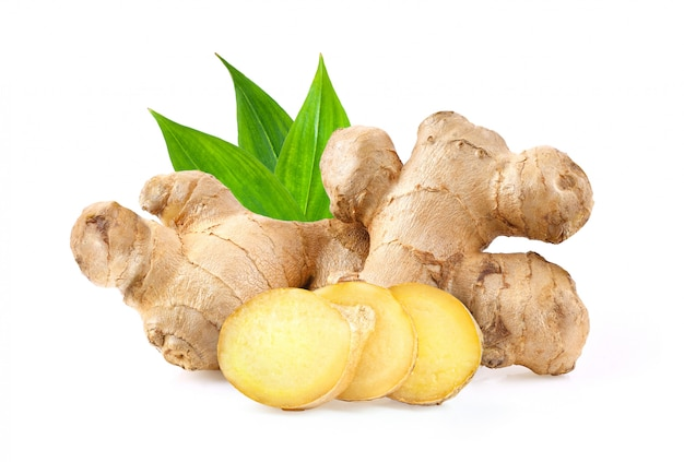 Ginger on white background. depth of field Premium Photo