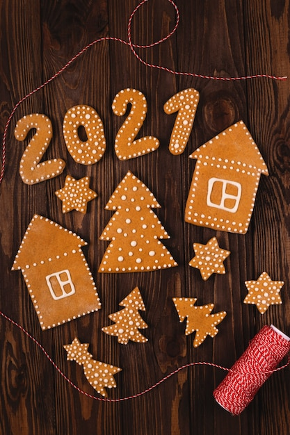 2021 Christmas Cookies Premium Photo Gingerbread Cookies In The Shape Of The Numbers For The New Year 2021 With Other Christmas Cookies On A Wooden Table
