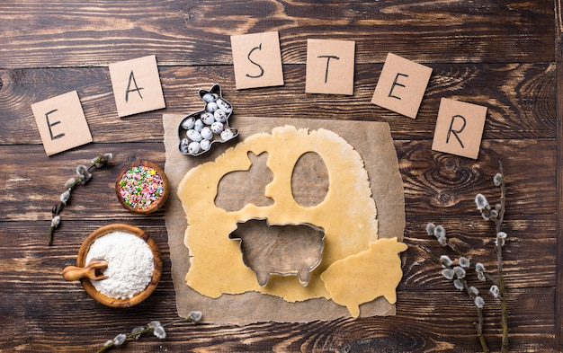 Gingerbread dough for cooking easter cookies Premium Photo