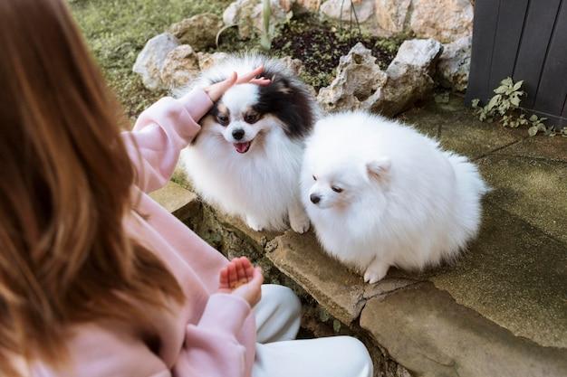 女の子とかわいい白い子犬のハイビュー 無料写真