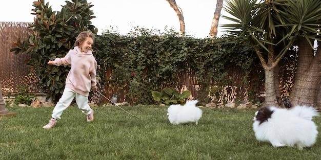 走ったり遊んだりする女の子と犬 無料写真