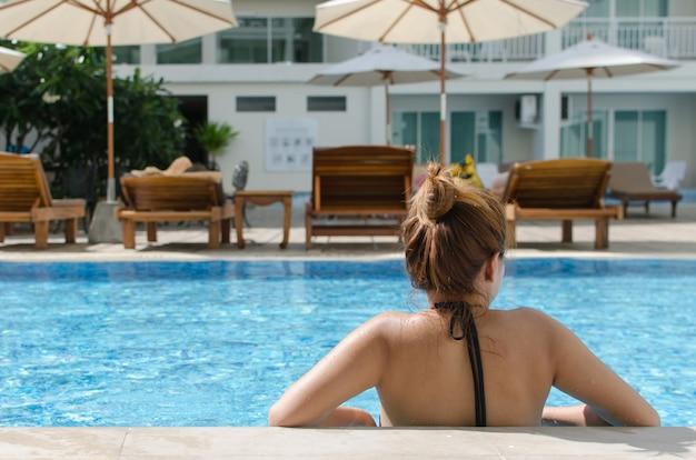 Girl asian swimming pool Premium Photo