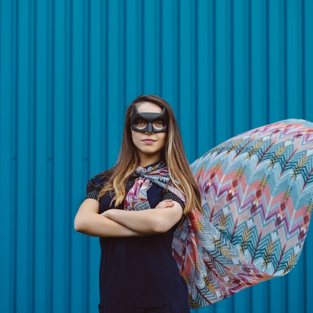 Girl in black superhero mask Free Photo