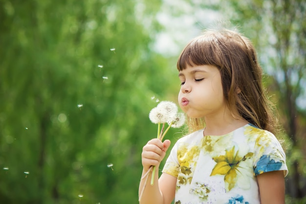 Girl blowing dandelions in the air. selective focus. Premium Photo