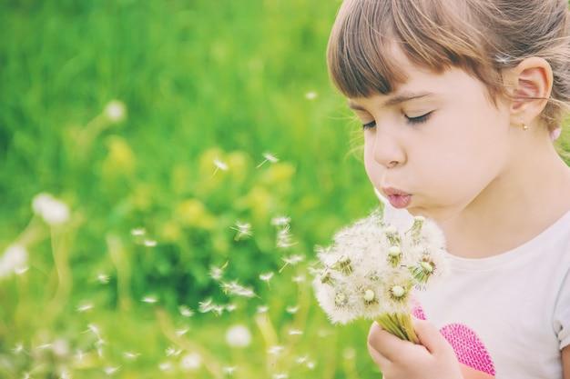 Girl blowing dandelions in the air. selective focus. Premium Photo