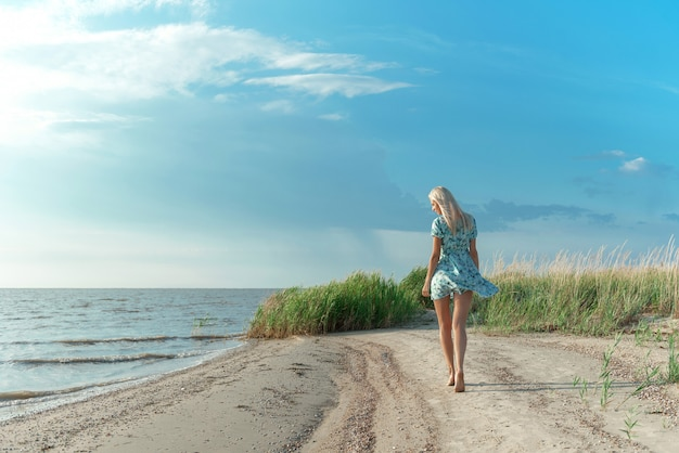 A girl in a blue dress strolls along the seashore Premium Photo