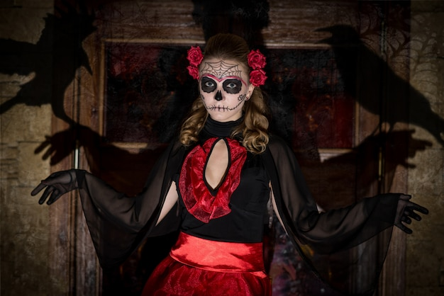 Girl in costume for halloween. Premium Photo