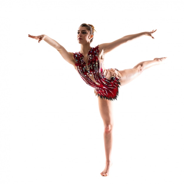 Girl doing rhythmic gymnastics Premium Photo