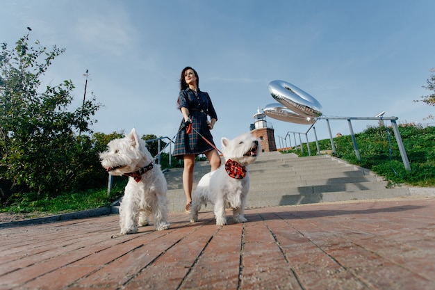 Girl in a dress next to the lighthouse on a walk with two white dogs Premium Photo