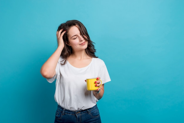 Girl drinking coffee Free Photo