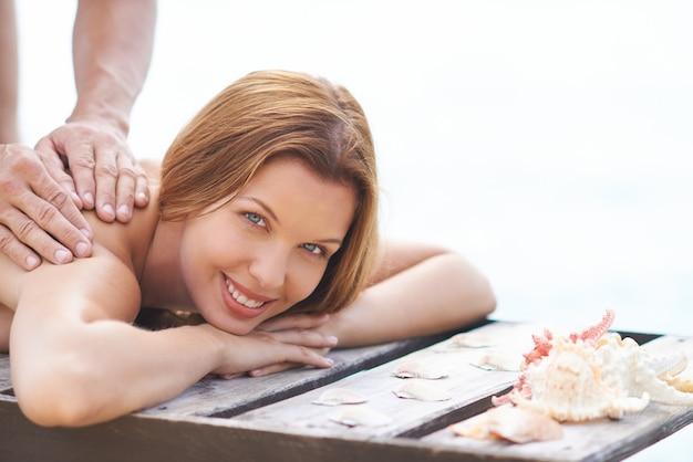 Girl enjoying a massage Free Photo