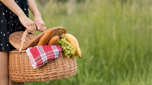 Girl holding a picnic basket Free Photo